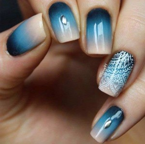 latest blue and white eid party nail art designs 2017 for pakistani girls