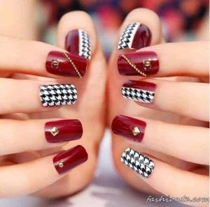 new red and check box white and black eid party nail art designs 2017 for pakistani girls