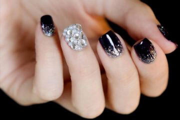 best silver and white eid party nail art designs 2017 for pakistani girls
