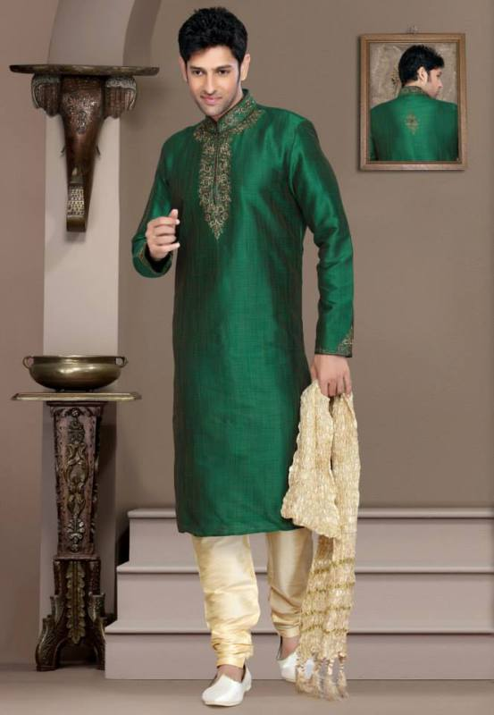Mehndi Kurta Designs 2017 For Men In Green Color With Embroidery