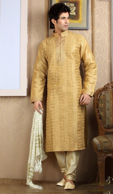 Mehndi Kurta Designs 2017 For Men In Lime Color