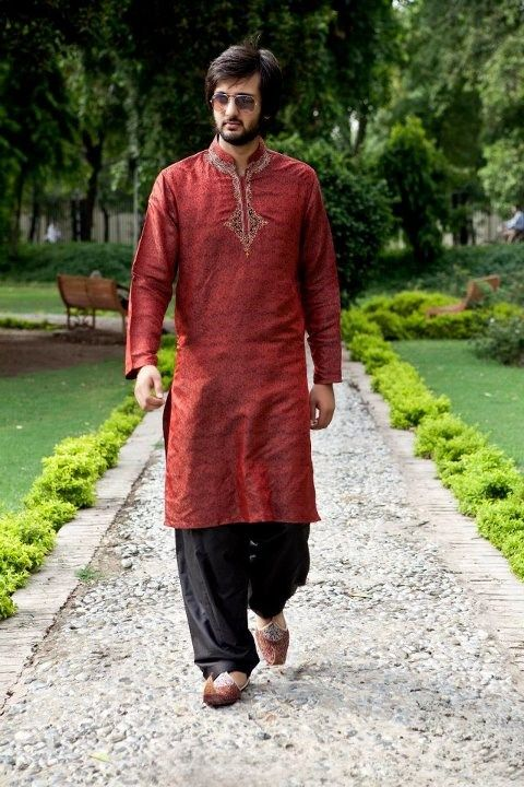 Mehndi Kurta Designs 2017 For Men In Red Color