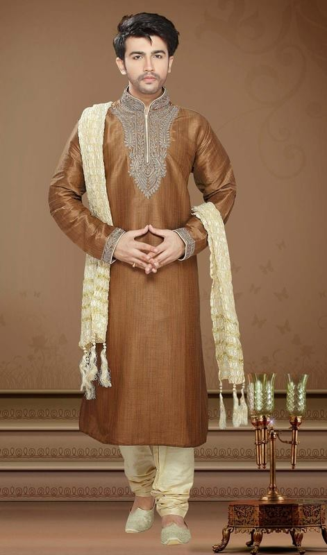 Mehndi Kurta Designs 2017 For Men In Brown Color
