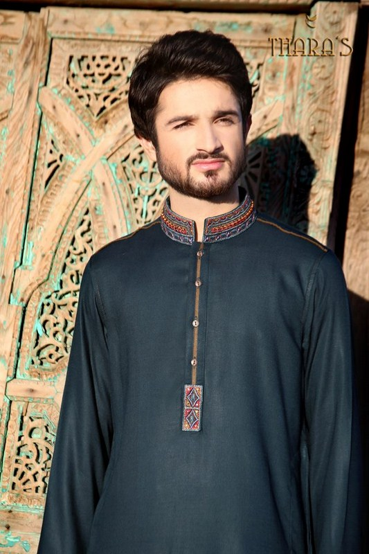 Mehndi Kurta Designs 2017 For Men In Navy Blue Color