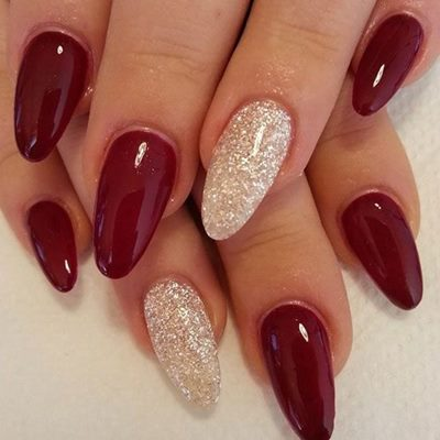 Red And Golden Nails For Wedding