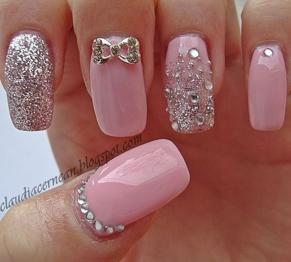 Gorgeous Pink Nails For Brides with stones - Latest Wedding Nail Art Designs 2017 In Pakistan FashionGlint