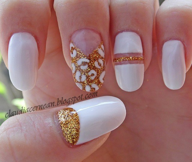 Beautiful White Nails with accessorise For Wedding