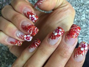 red floral nails 2017 for wedding