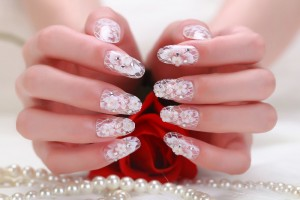Beautiful White floral Nails For Wedding