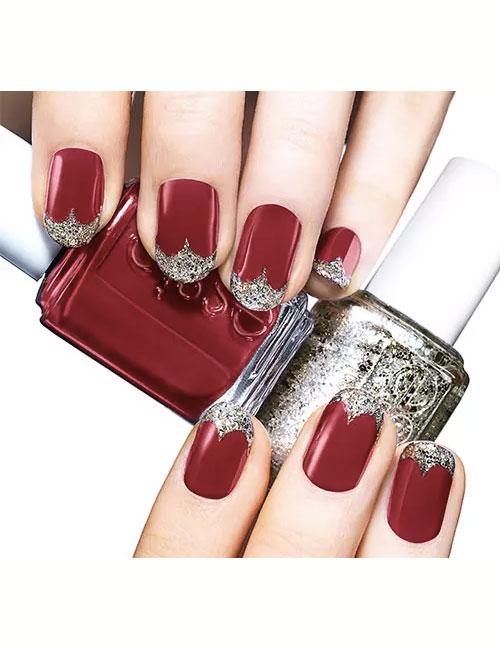 maroon nails for wedding