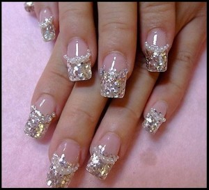 Beautiful White Glitter Nails For Wedding