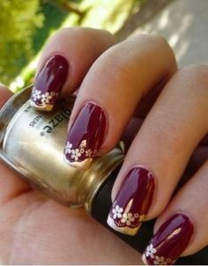 Maroon And Golden Nails For Wedding