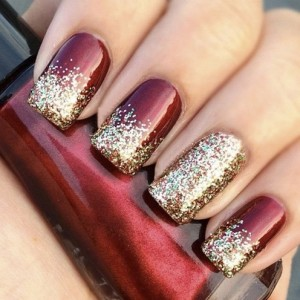 Glittery Maroon And Golden Nails For Wedding