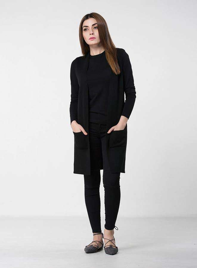 5420bdfe9 new long black front open latest winter sweater designs 2017 for pakistani  girls