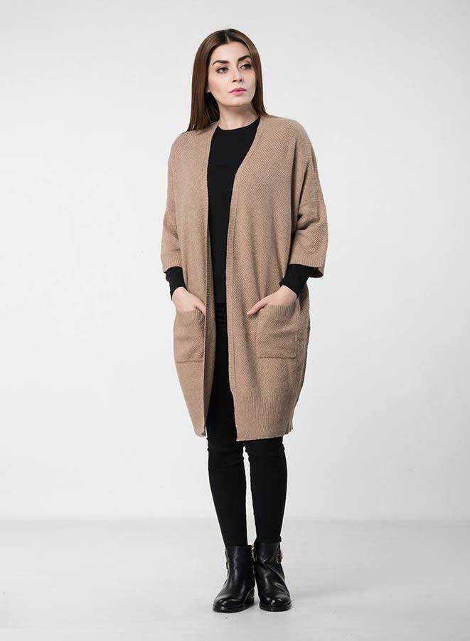 ba86f491e latest long geige or brown latest winter sweater designs 2017 for pakistani  girls