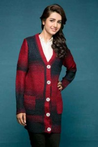 best red and black long latest winter sweater designs 2017 for pakistani girls by bonanza