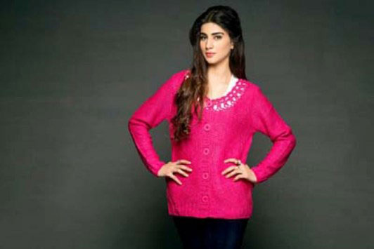 new stylish shocking pink latest winter sweater designs 2017 for pakistani girls by bonanza