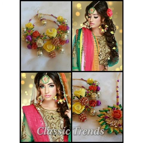 mehndi hairstyle 2017 with floral jewelry