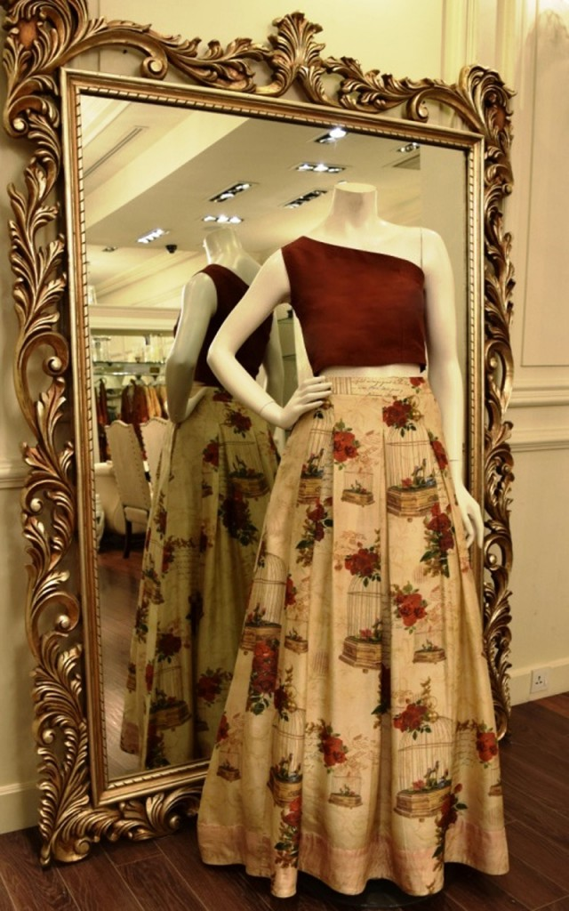 Threads and Motifs maroon printed lehnga choli 2017