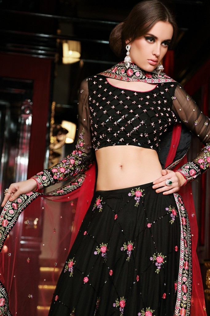 Maria B black lehenga choli design 2017