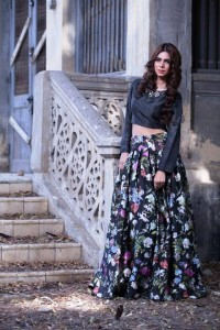threads and motifs black printed lehnga choli 2017