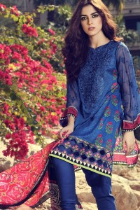 latest blue girls kurta pajama with pink dupatta girls summer lawn dress designs 2017 for girls by maria b
