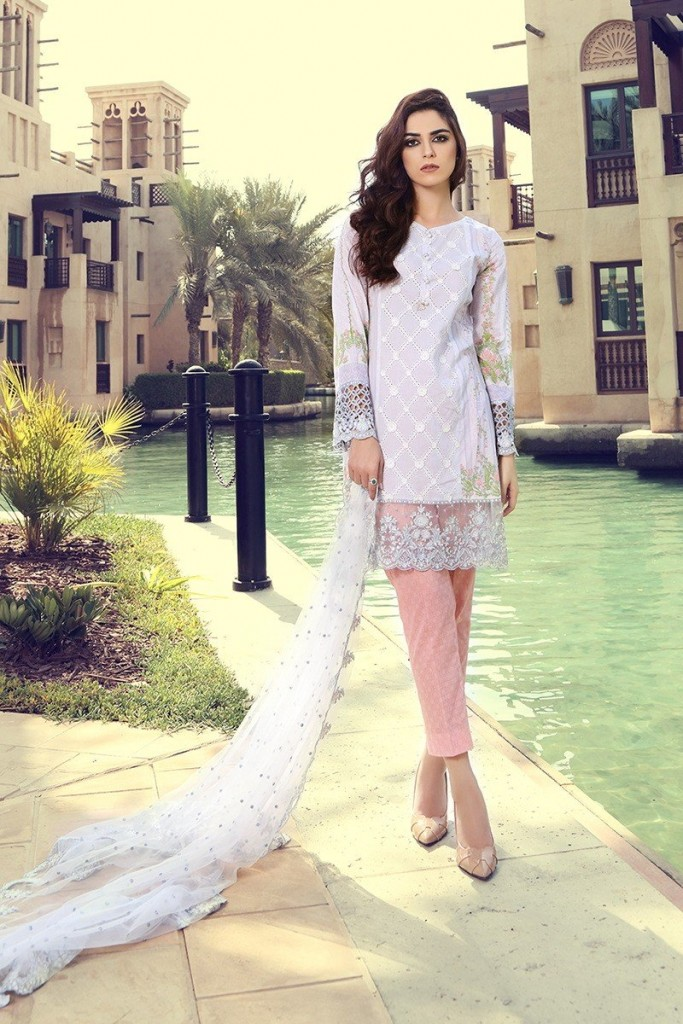 best short white shirt with light pink pajama and matching dupatta girls summer lawn dress designs 2017 for girls by maria b