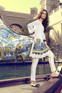latest yellow and white shalwar kameez with matching dupatta girls summer lawn dress designs 2017 for girls by maria b