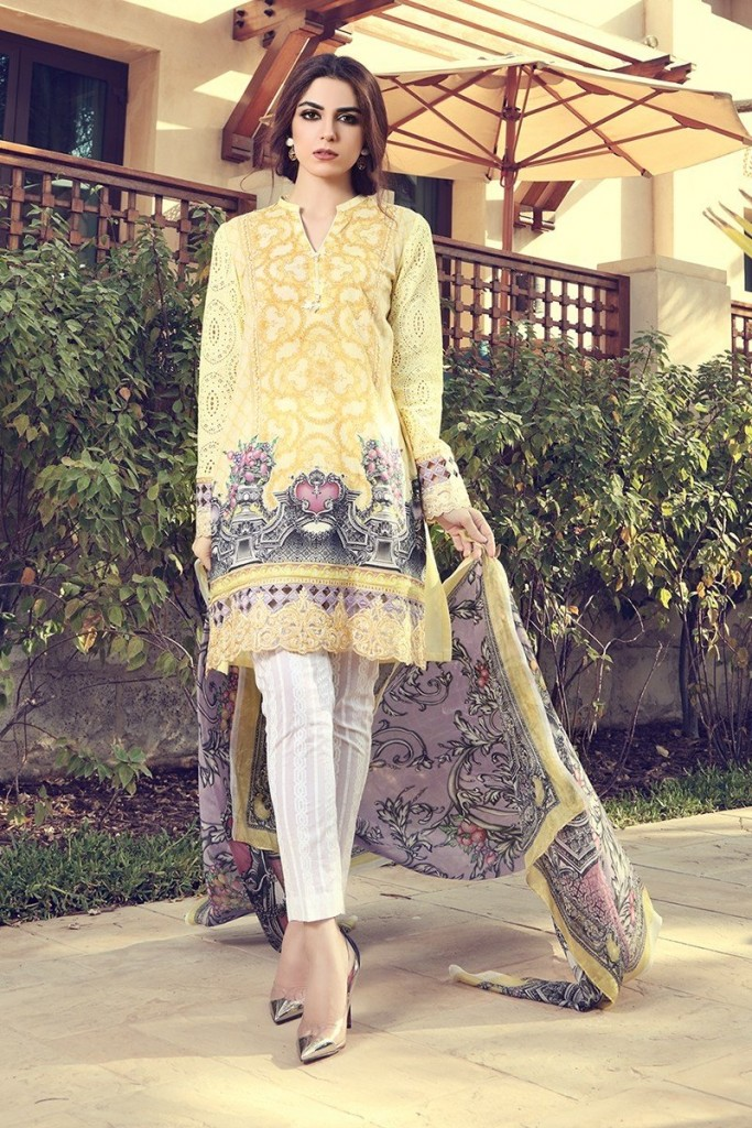 best yellow embroidered shirt with white trouser and matching dupatta girls summer lawn dress designs 2017 for girls by maria b