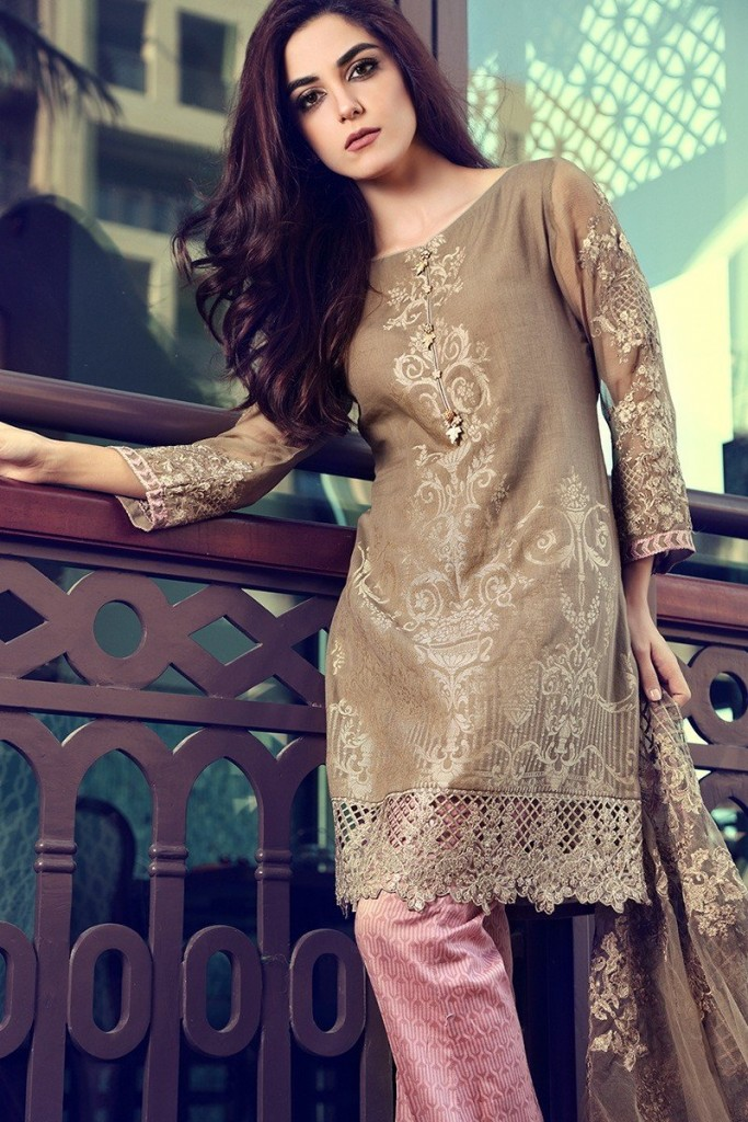 new beige shirt and trouser with matching dupatta girls summer lawn dress designs 2017 for girls by maria b