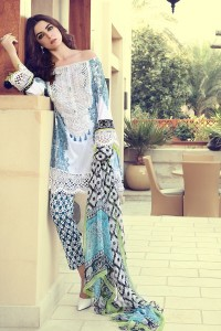 latest white and blue shirt with matching dupatta and pajama girls summer lawn dress designs 2017 for girls by maria b