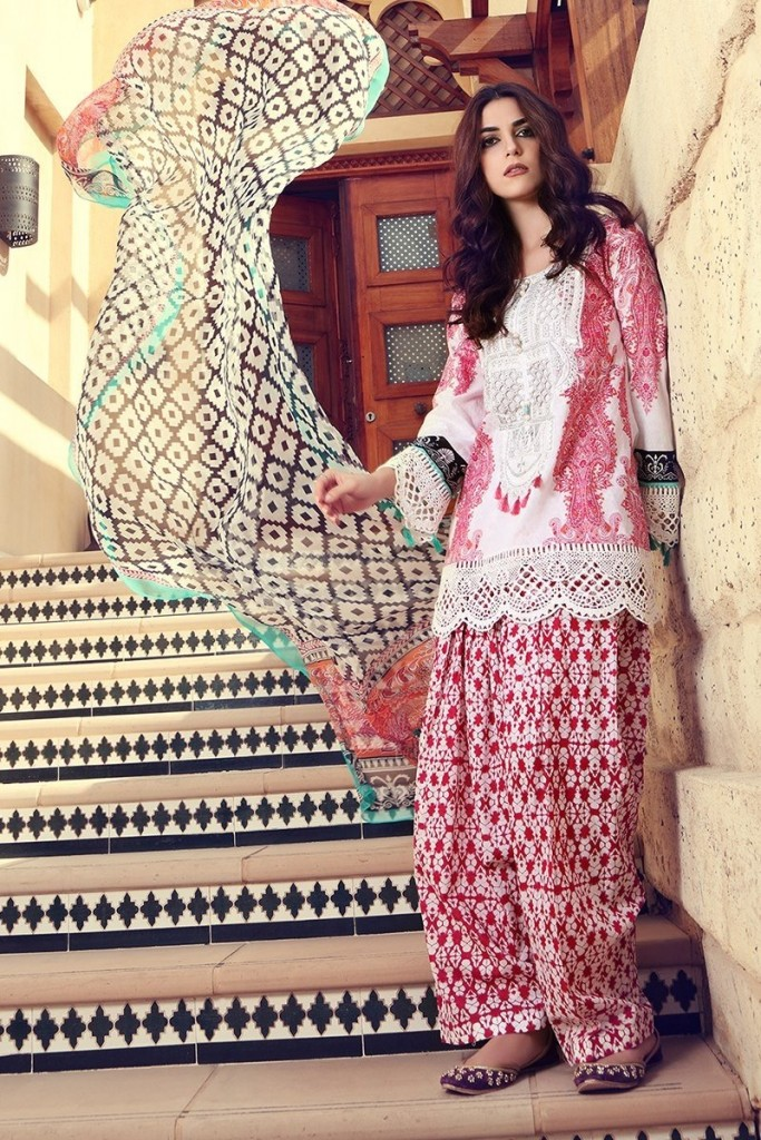 new white and pink shirt with matching dupatta and trouser girls summer lawn dress designs 2017 for girls by maria b