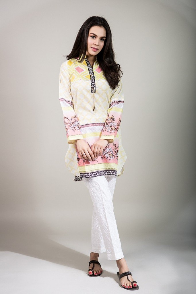 light yellow summer lawn shirt with white trouser girls summer lawn dress designs 2017 for girls by maria b