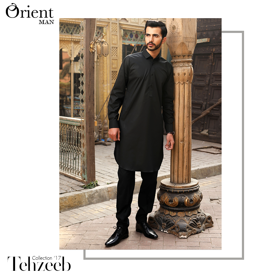 Latest Men Summer Kurta Designs 2017 In Black Color