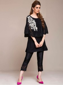 Latest Pakistani Eid Dresses 2018 For Women In Black Color