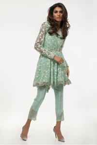 Latest Pakistani Eid Dresses 2018 For Women In Sea Green Color