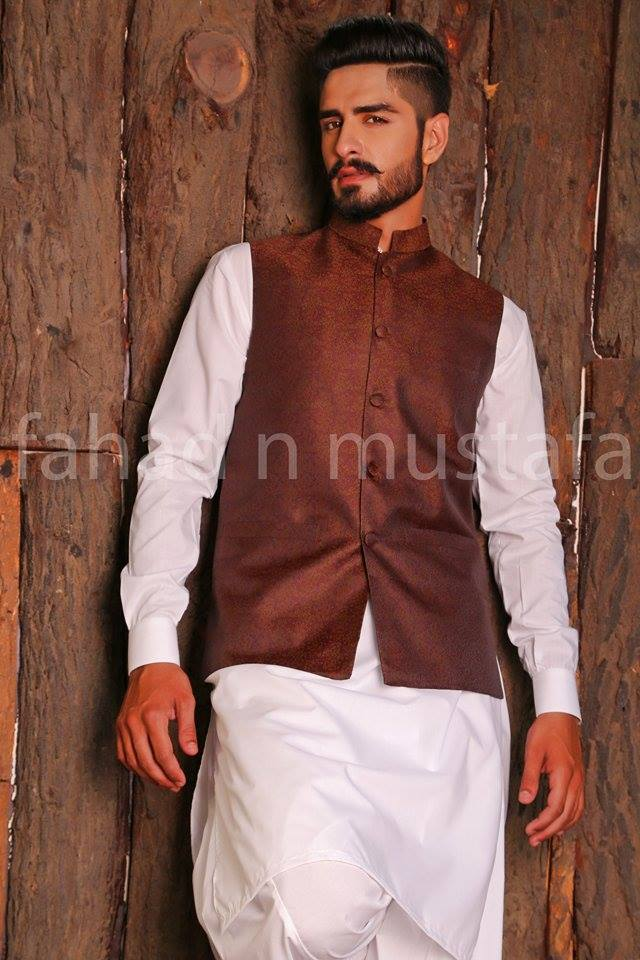Waistcoat combination for white shalwar kameez