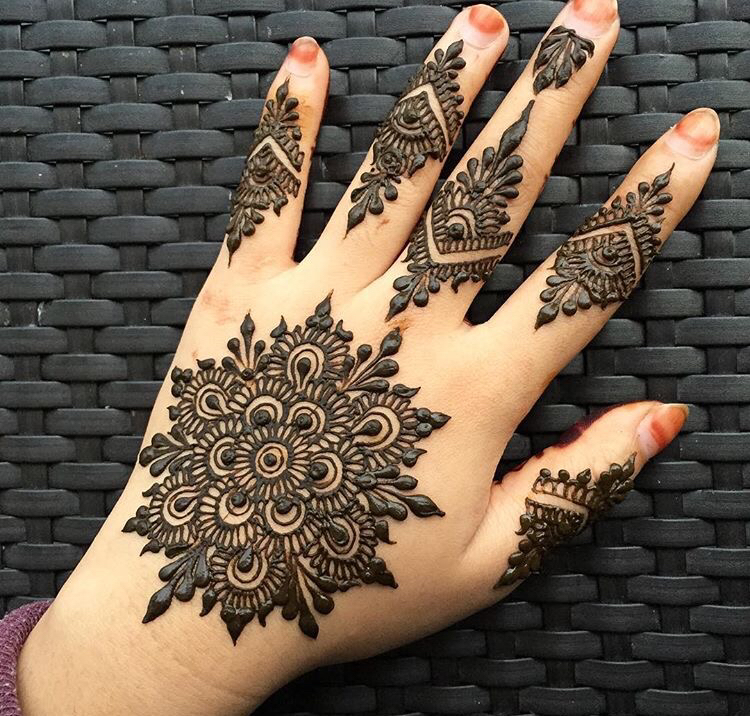 Floral Circle Mehndi Design for Hands