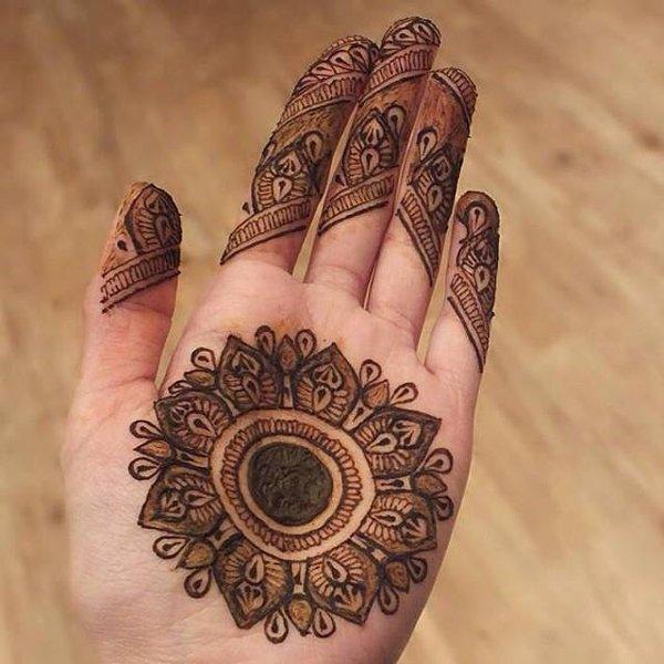 Mehndi Designs Gola : Easy round design gol tikka mehndi for hands