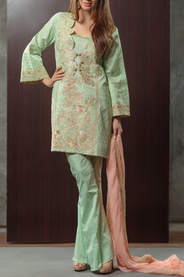 Alkaram Sea Green Zari Embroidered Outfit For Eid 2017