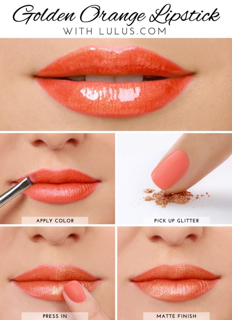 Orange Lipstick Tutorials Step by Step for Eid