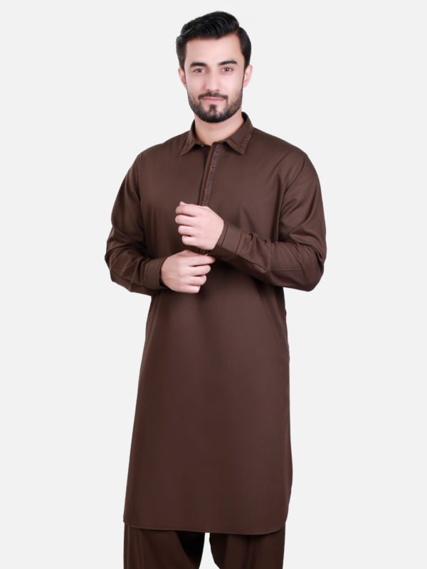 Edenrobe Shalwar Kameez 2017 in Dark Brown Color