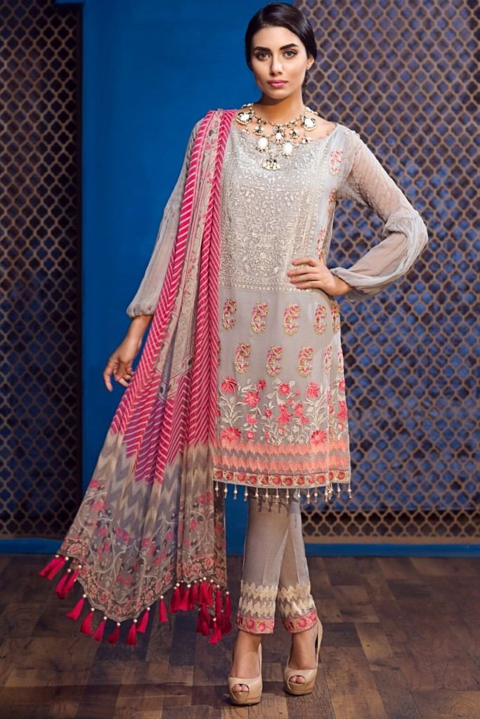 Grey & Pink Embroidered Chiffon Suit