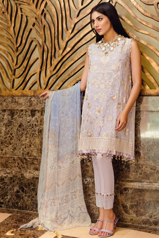 Purple Chiffon Embroidered Eid Dress By Khaadi