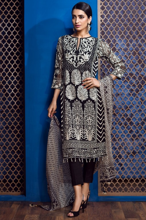 Khaadi Eid blackChiffon Dress