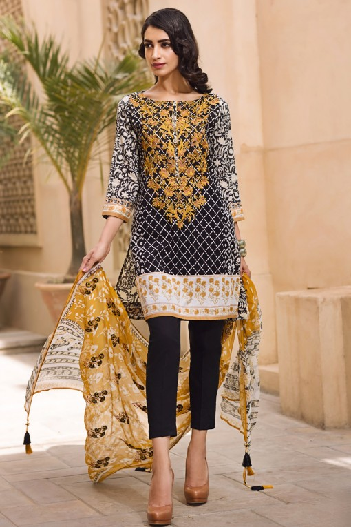 Khaadi Black Lawn Eid Dress