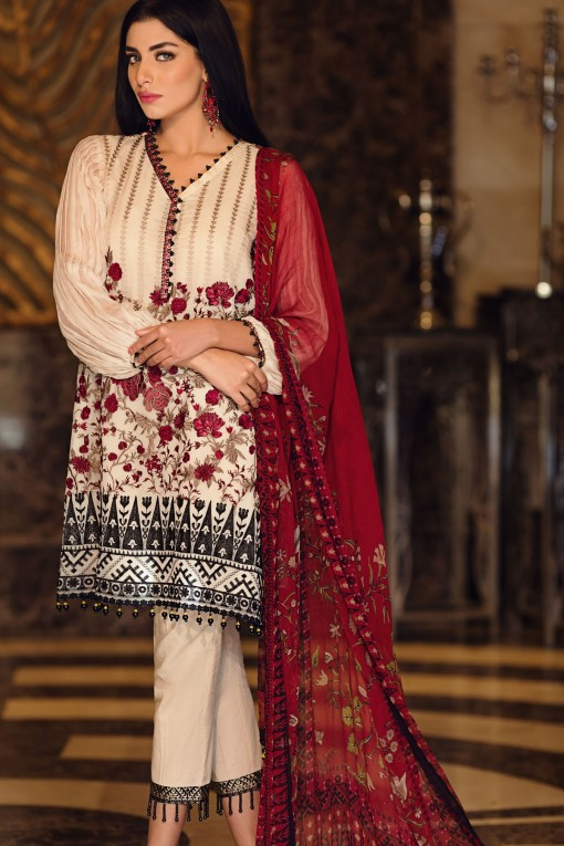 Beige Embroidered Chiffon Dress by Khaadi