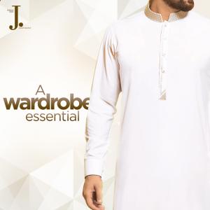 Off White Eid Kurta by J. 2018 with Price