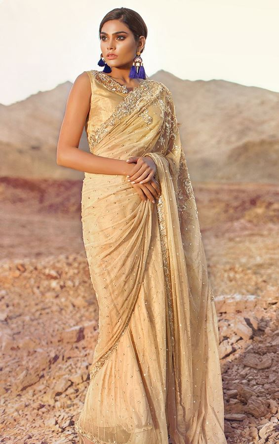 Teena Durani Sari 2017 in Off White Color