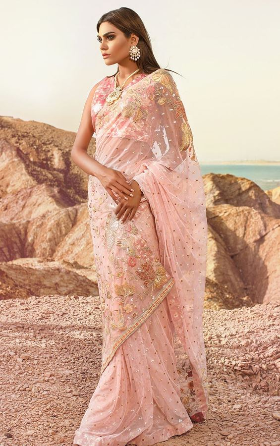 Teena Durani Sari 2017 in Pink Color